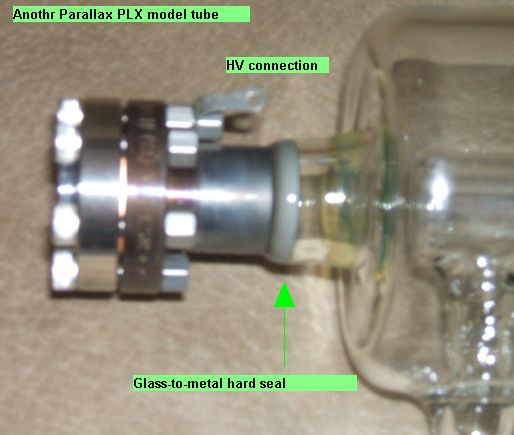 Photo of glass-to-metal hard seal used in our PLX tubes